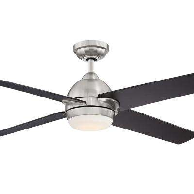 Trenton 52 in. LED Brushed Nickel Ceiling Fan with Espresso Blades