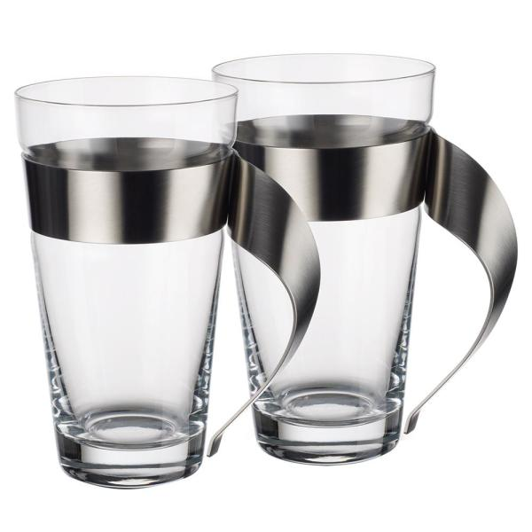 New Wave 16 oz. Clear Glass and Stainless Steel Macchiato Mug (Set of 2)