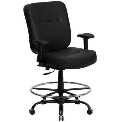 Big and Tall 400 lb. Rated Black Leather Ergonomic Drafting Chair with Adjustable Arms