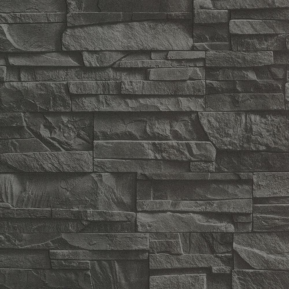 Black Shadow Faux Slate Vinyl Wallpaper