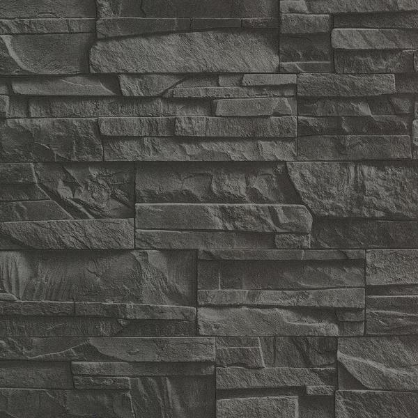 Advantage black shadow faux slate vinyl wallpaper 2774 475036 the home depot - Washable wallpaper ...