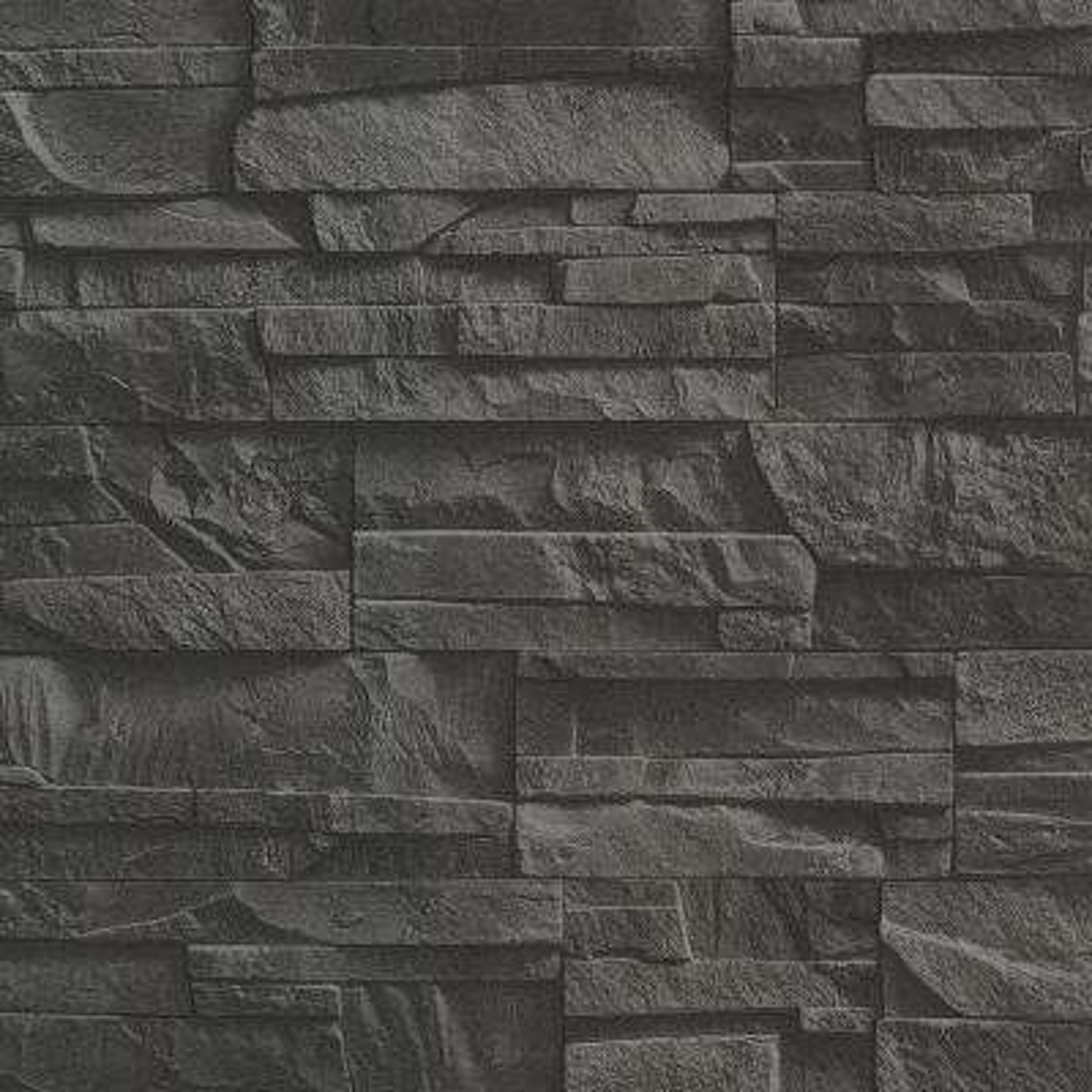 8 in. x 10 in. Collegiate Charcoal Stacked Slate Wallpaper Sample
