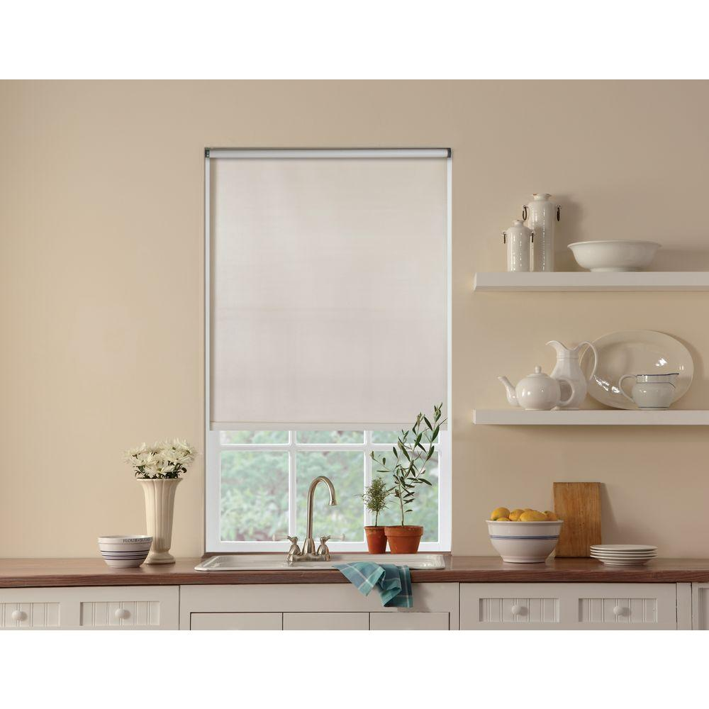 Bali Cut-to-Size White Cordless 6 mm Room Darkening Vinyl Roller Shade - 55.25 in. W x 78 in. L