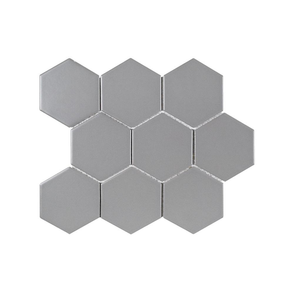 Neptune's Twilight Grey 11.5 in. x 10 in. Hexagon Matte Porcelain Mosaic Tile (0.798 sq. ft./Each)