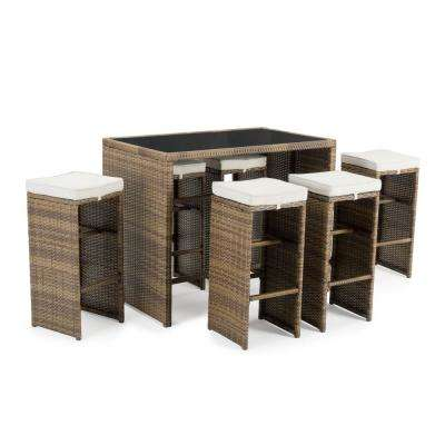Quin Brown 7-Piece Wicker Outdoor Bar Height Dining Set with Beige Cushions