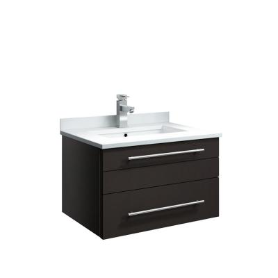 Lucera 24 in. W Wall Hung Bath Vanity in Espresso with Quartz Stone Vanity Top in White with White Basin