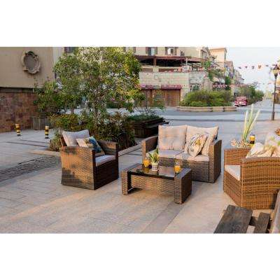 Dille 4-Piece Wicker Patio Conversation Set with Grey Cushions