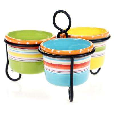 Mariachi Multi-Colored 7.75 in. x 7.5 in. 3-Bowl Server with Metal Stand