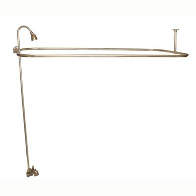 2-Handle Claw Foot Tub Faucet with Riser 54 in. Rectangular Shower Ring and Side Wall Support in Polished Brass