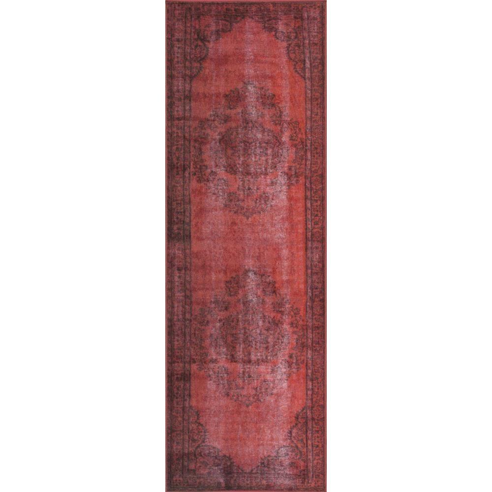 Vintage Inspired Overdyed Red 3 ft. x 8 ft. Runner Rug