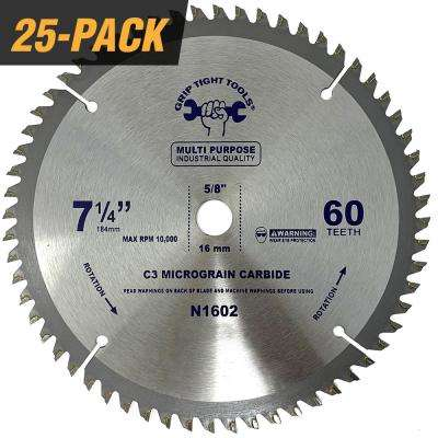 7-1/4 in. Professional 60-Tooth Tungsten Carbide Tipped Circular Saw Blade for General Purpose & Wood Cutting (25-Pack)