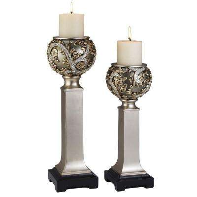 15 in. / 19 in. H Silver Vine Candle Holder Set