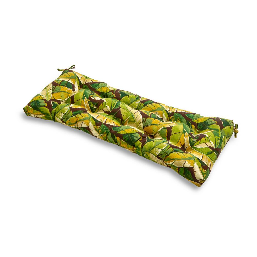 Greendale Home Fashions Palm Leaves Green Rectangle Outdoor Bench Cushion