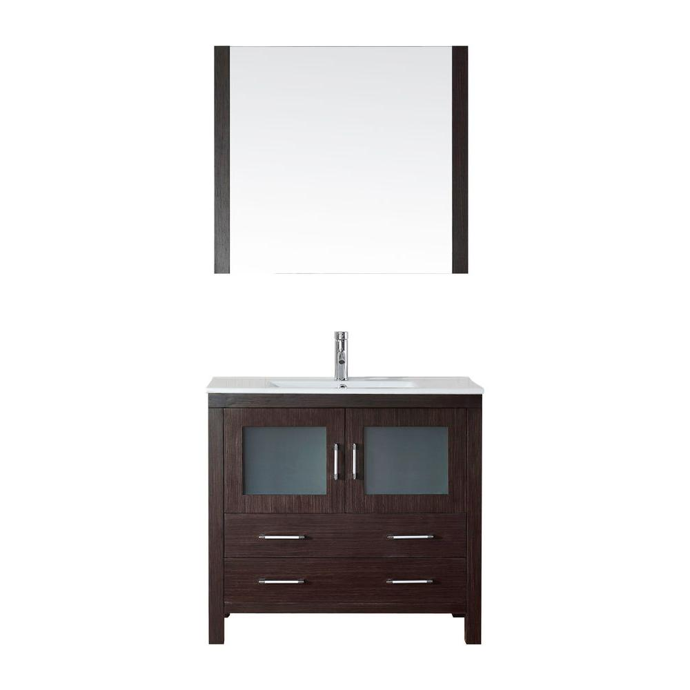 Virtu USA Dior 36 in. W Bath Vanity in Espresso with Ceramic Vanity Top in White with Square Basin and Mirror and Faucet