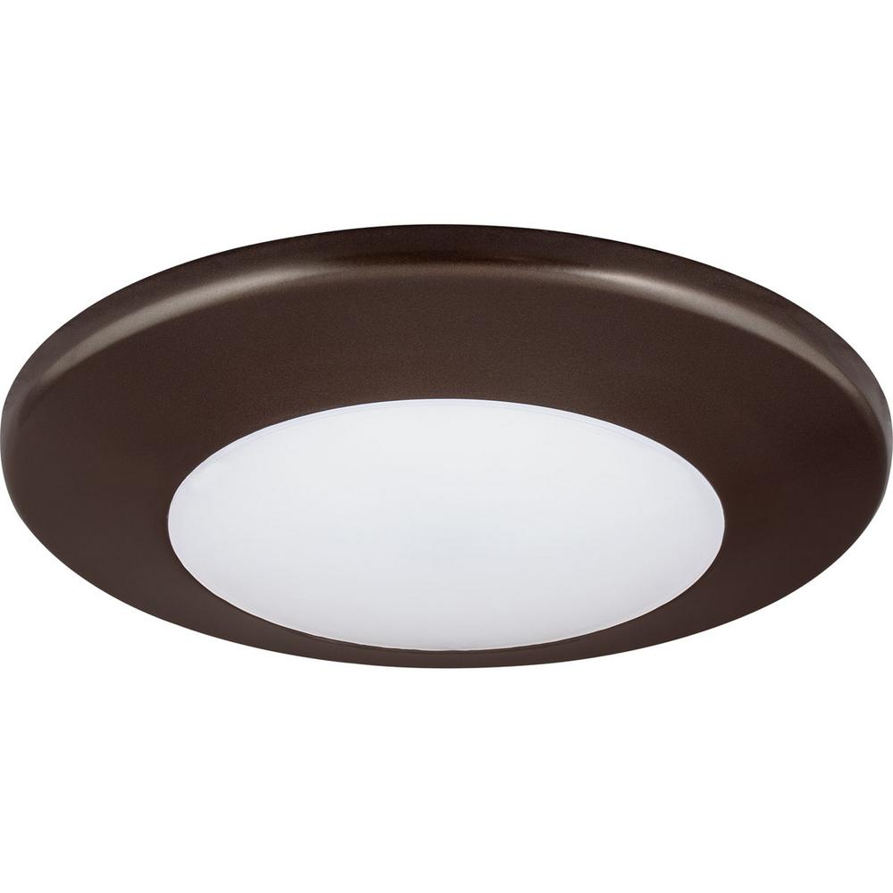 7.25 in. Flush Mount Collection 17-Watt Antique Bronze Integrated LED Flushmount