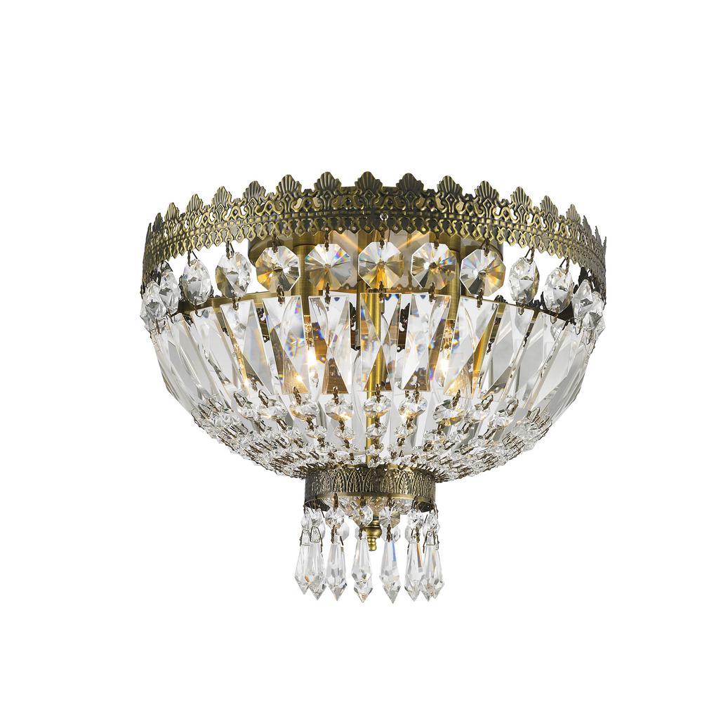 Worldwide Lighting Metropolitan Collection 3-Light Bronze and Crystal Flushmount