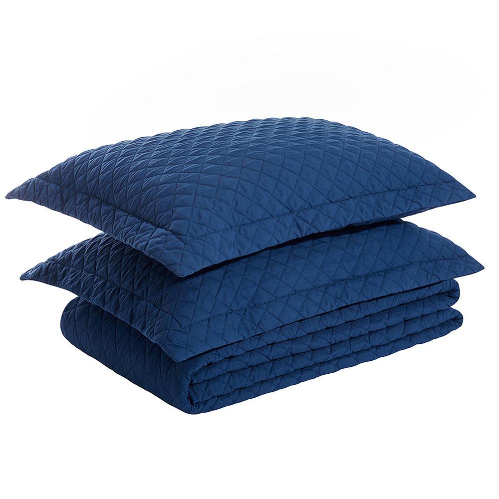 3-Piece Blue Quilted Microfiber King Comforter Set (1x Comforter, 2x Pillow Shames)