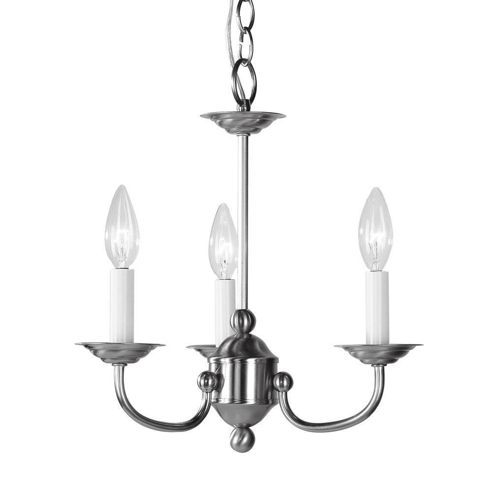 Livex Lighting 14 in. 3-Light Brushed Nickel Chandelier