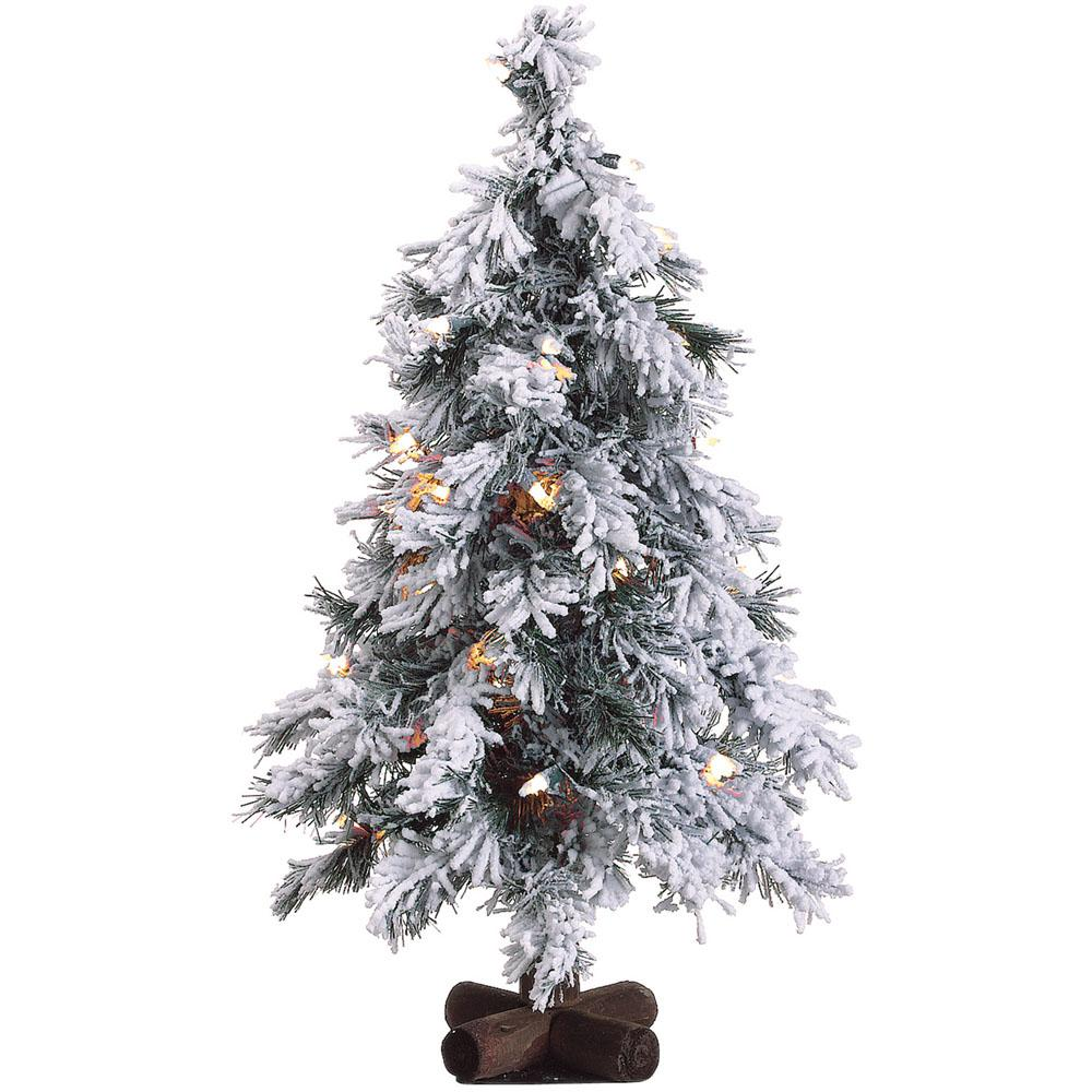 fraser hill farm 2 ft pre lit snowy alpine artificial christmas tree with 35 - 2 Ft Christmas Tree