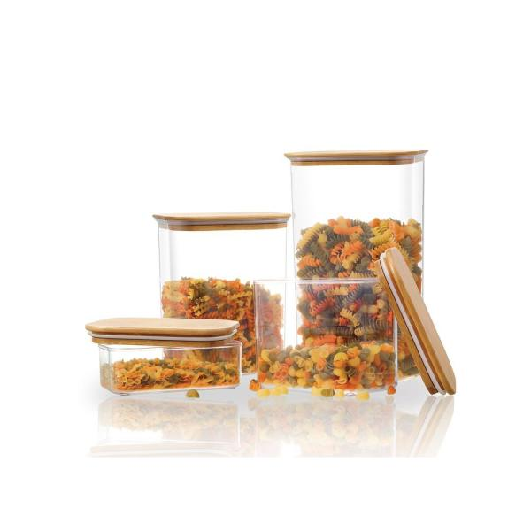 Stylewell Rectangle Canister With Bamboo Lid Set Of 4 080634