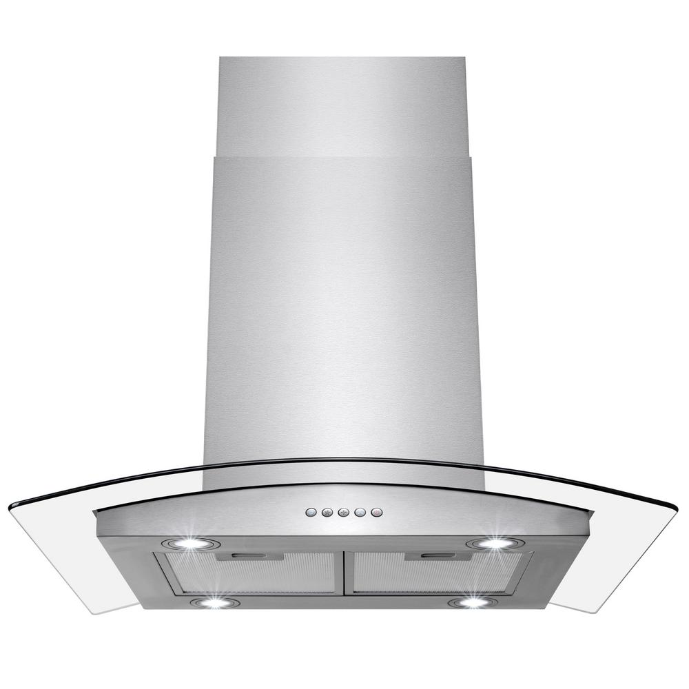 akdy 36 in convertible kitchen island mount range hood in stainless steel with tempered glass. Black Bedroom Furniture Sets. Home Design Ideas