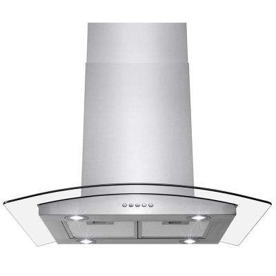 36 in. Convertible Kitchen Island Mount Range Hood in Stainless Steel with Tempered Glass and LEDs