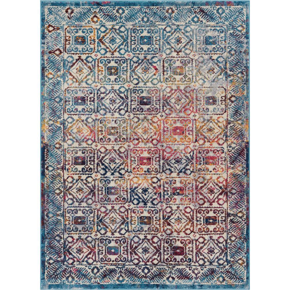 Laurent Kubala Multi 7 ft. 10 in. x 9 ft. 10 in. Modern Vintage Tile Work Area Rug