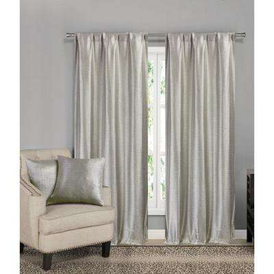 Erinne Taupe Pole Top Panel Pair with 2-Dec Pillows - 38 in. W x 84 in. (2-Piece) and 18 in. W x 18 in. L (2-Piece)