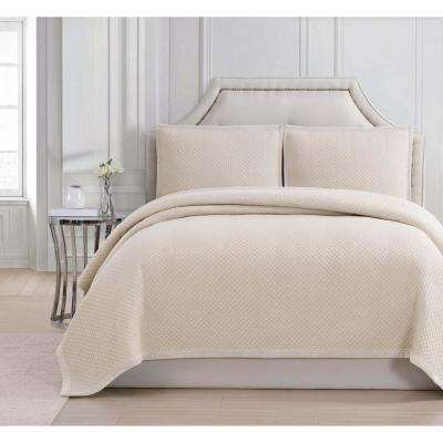 Rayon Coverlets Beige King Coverlet
