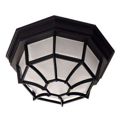 Black 1-Light Outdoor Flush Mount with Frosted Glass