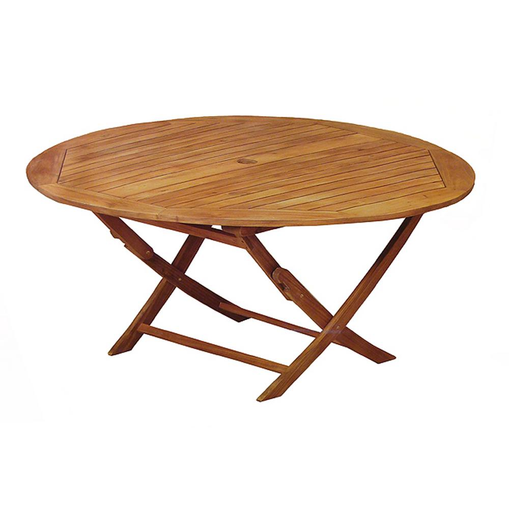 Northlight 47 In Round Outdoor Acacia Wood Folding Patio Dining Table 32756495 The Home Depot