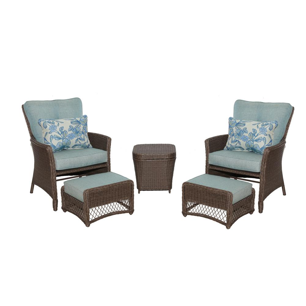 Hampton Bay Fallsview 5-Piece Wicker Conversation Set with Blue Olefin Cushions