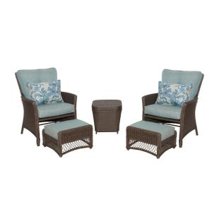 Hampton Bay Fallsview 5 Piece Wicker Conversation Set With