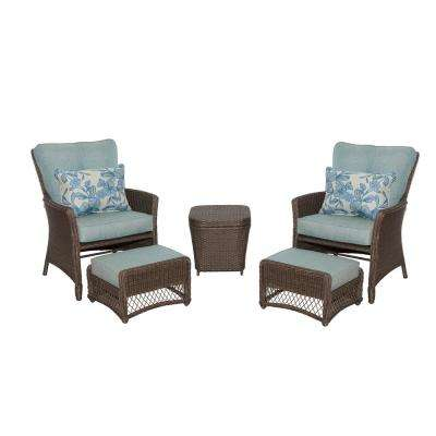 fallsview 5 piece wicker conversation set with teal olefin cushions - Hampton Bay Patio Chairs