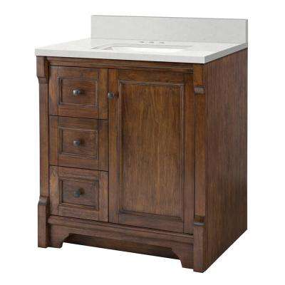Creedmoor 31 in. W x 22 in. D Vanity Cabinet in Walnut with Engineered Marble Vanity Top in Snowstorm with White Sink