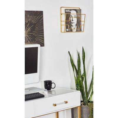 Gold 2-Tier Wall Mounted Magazine Rack