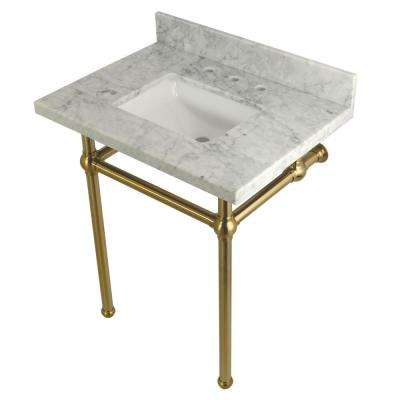 Square Sink Washstand 30 in. Console Table in Carrara with Metal Legs in Satin Brass