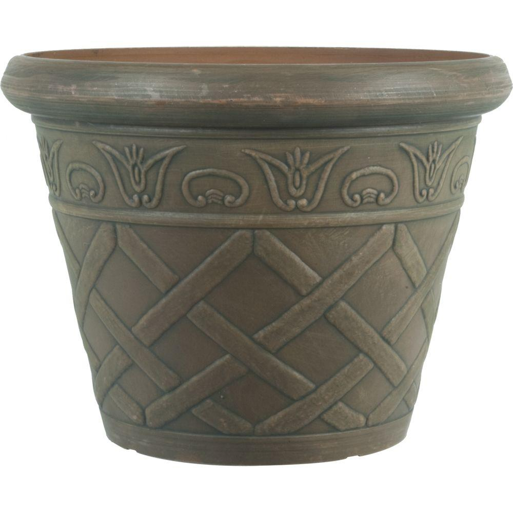 12 in. Dia Lattice Brown Plastic Planter