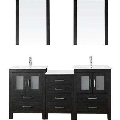 Dior 66 in. W Bath Vanity in Zebra Gray with Ceramic Vanity Top in White with Square Basin and Mirror and Faucet