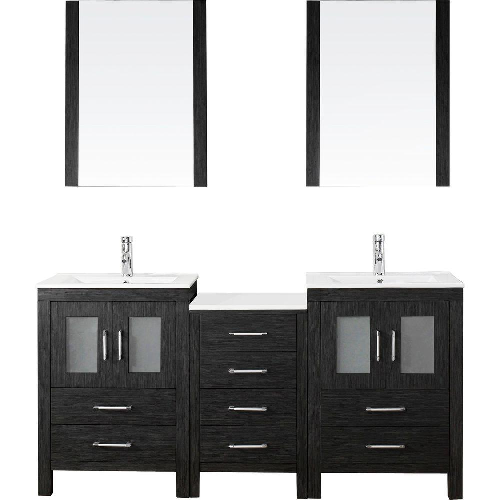 Superior Virtu USA Dior 66 In. W X 18.3 In. D Vanity In Zebra Grey With Ceramic  Vanity Top In White With White Basin And Mirror KD 70066 C ZG   The Home  Depot