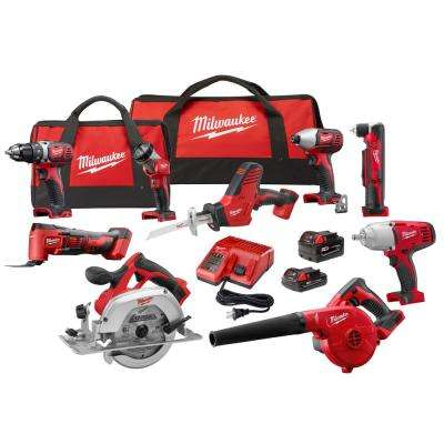 M18 18-Volt Lithium-Ion Cordless Combo Kit (9-Tool) w/(2) Batteries, Charger, (2) Tool Bag
