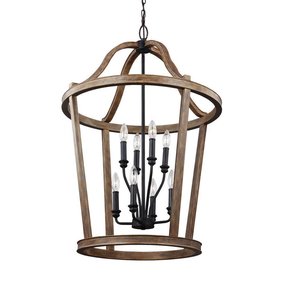 Lorenz 8-Light Weathered Oak Wood and Dark Weathered Zinc Multi-Tier Chandelier