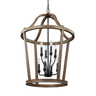 Lorenz 8-Light Weathered Oak Wood and Dark Weathered Zinc Multi-Tier Chandelier