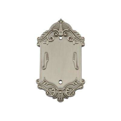 Victorian Switch Plate with Blank Cover in Satin Nickel