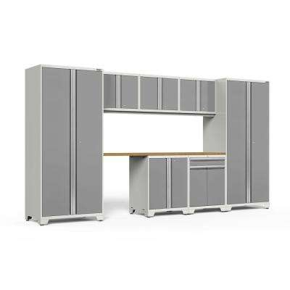 Pro 3.0 85.25 in. H x 156 in. W x 24 in. D 18-Gauge Welded Steel Garage Cabinet Set in Platinum (8-Piece)