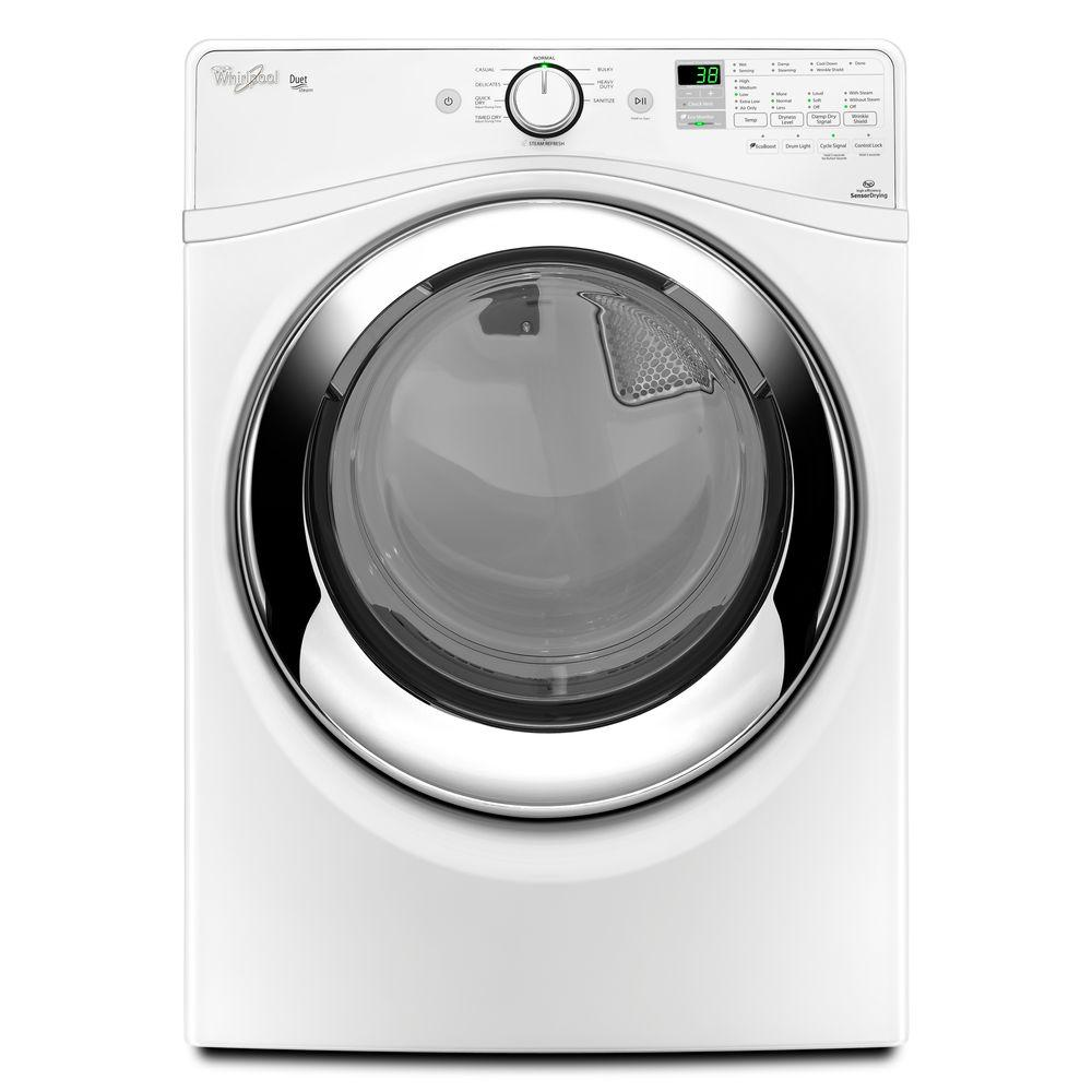 Whirlpool Duet 7.3 cu. ft. Electric Dryer with Steam in White, ENERGY STAR