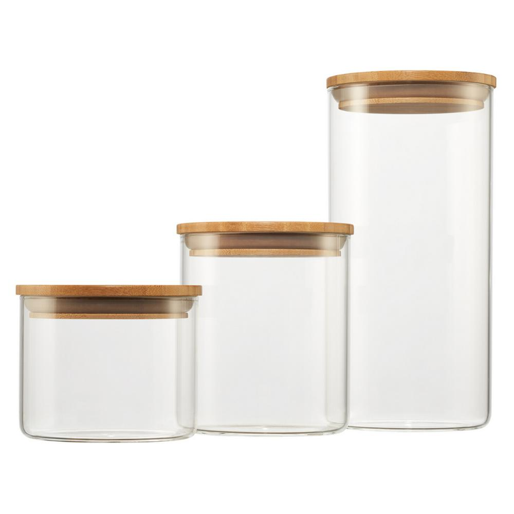 Trinity 3 Piece Glass And Bamboo Canister Set C Tkd 2810 The Home Depot