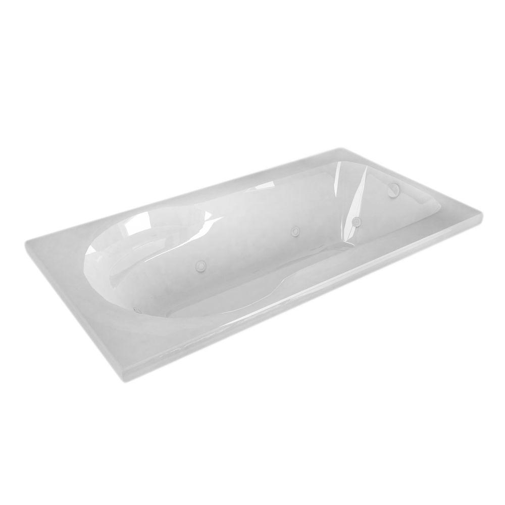 Zircon 5 ft. Left Drain Rectangular Drop-in Whirlpool Bathtub in White
