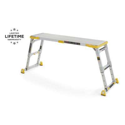 4.58 ft. x 2.52 ft. Aluminum Heavy-Duty Adjustable-Height PRO Slim-Fold Work Platform, 375 lbs. Load Capacity