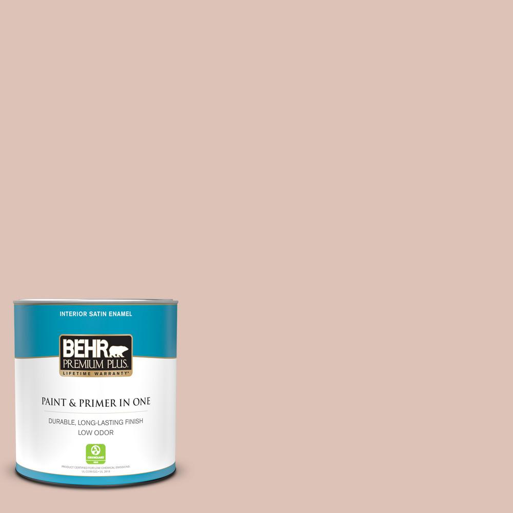 Behr Premium Plus 1 Qt Ppu2 07 Coral Stone Satin Enamel Low Odor Interior Paint And Primer In One 705004 The Home Depot